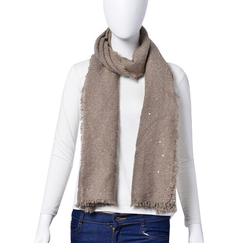 Khaki Colour Scarf with Sequins (Size 200x70 Cm)