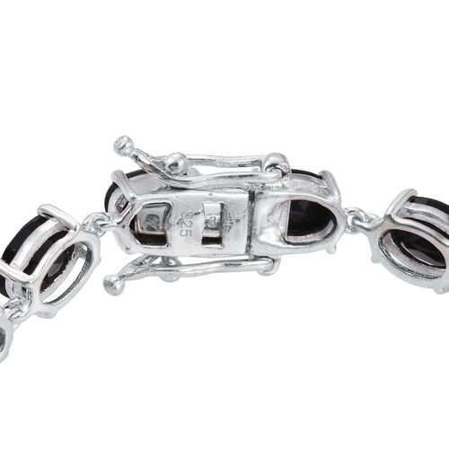 Australian Midnight Tourmaline (Ovl) Line Bracelet (Size 7.5) in Platinum Overlay Sterling Silver 17.000 Ct.
