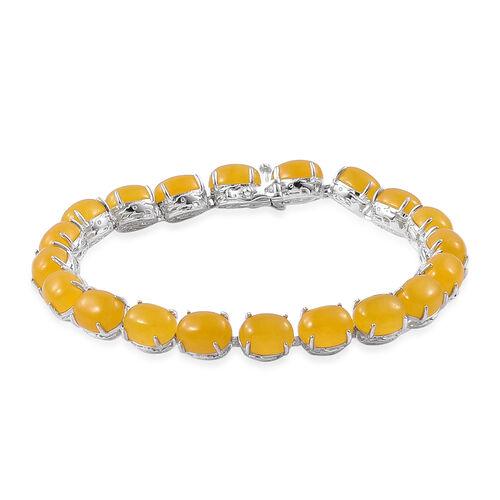 Honey Jade (Ovl) Dragon Bracelet (Size 7.5) in Platinum Overlay Sterling Silver 45.250 Ct. Silver wt 11.50 Gms.
