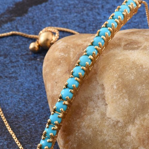 Arizona Sleeping Beauty Turquoise (Rnd) Adjustable Bracelet (Size 7.5) in 14K Gold Overlay Sterling Silver 2.000 Ct.