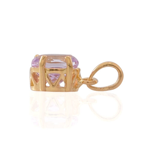 AAA Brazilian Kunzite (Ovl) Solitaire Pendant in 14K Gold Overlay Sterling Silver 2.000 Ct.