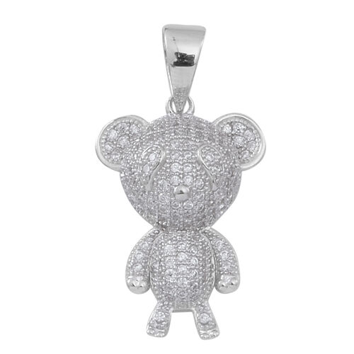 ELANZA AAA Simulated White Diamond (Rnd) Teddy Bear Pendant in Rhodium Plated Sterling Silver