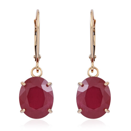 9K Y Gold AAA African Ruby (Ovl) Lever Back Earrings 10.000 Ct.