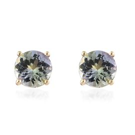 14K Yellow Gold AA Green Tanzanite (Rnd) Solitaire Studs Earrings (with Push Back) 1.50 Ct.