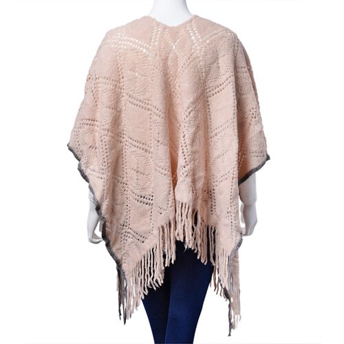 Designer Inspired Light Pink and Grey Colour Diamond and Floral Pattern Poncho with Tassels (Size 90x60 Cm)