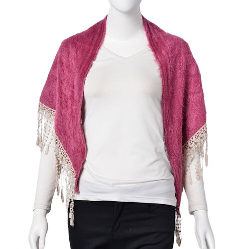 Designer Inspired- Pink Colour Gypsy Style Triangle Scarf with Tassels (Size 137x58 Cm)