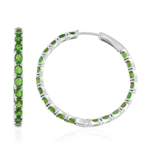 Russian Diopside (Ovl) Hoop Earrings (with Clasp) in Rhodium Plated Sterling Silver 8.750 Ct. Silver wt. 7.45 Gms.
