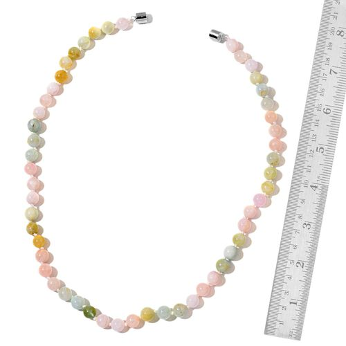AAA Espirito Santo Aquamarine and Multi Colour Marropino Morganite Ball Beaded Necklace (Size 20) with Magnetic Clasp in Rhodium Plated Sterling Silver 200.000 Ct.