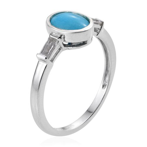 Arizona Sleeping Beauty Turquoise (Ovl 1.00 Ct), White Topaz Solitaire Ring in Platinum Overlay Sterling Silver 1.250 Ct.