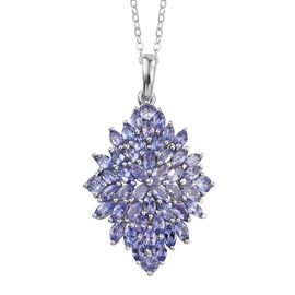 Tanzanite (Mrq) Cluster Pendant With Chain in Platinum Overlay Sterling Silver 3.500 Ct.