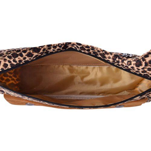Leopard Pattern Chocolate Colour Crossbody Bag with External Zipper Pocket (Size 28x20x7.5 Cm)