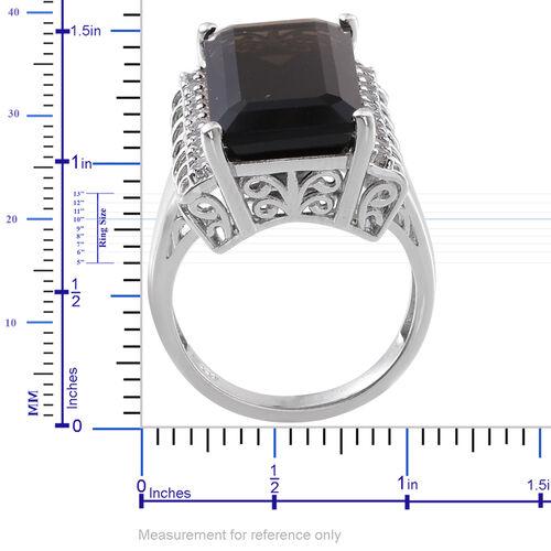 Brazilian Smoky Quartz (Oct 21.15 Ct), White Topaz Ring in Platinum Overlay Sterling Silver 22.000 Ct.