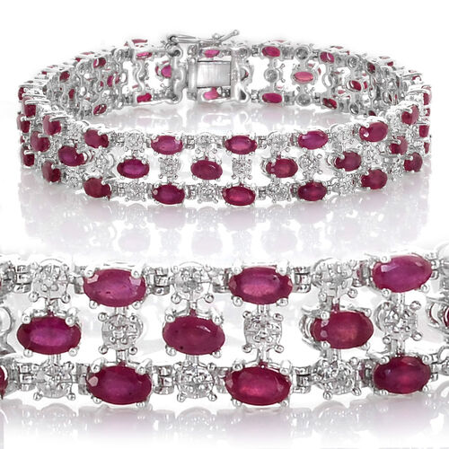 African Ruby (Ovl), Diamond Bracelet in Platinum Overlay Sterling Silver (Size 8) 19.520 Ct.