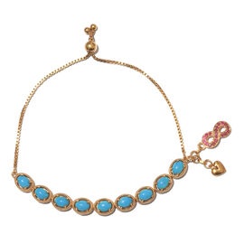 Arizona Sleeping Beauty Turquoise (Ovl), African Ruby Adjustable Bracelet (Size 6.5 to 8.5) with Infinity and Heart Charm in 14K Gold Overlay Sterling Silver 7.750 Ct. Silver wt. 9.50 Gms.