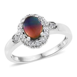 AA Canadian Ammolite (Ovl 8x6mm), Natural Cambodian Zircon Ring in Platinum Overlay Sterling Silver 1.750 Ct.
