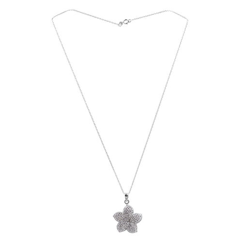 Close Out Deal Austrian Crystal (Rnd) Floral Pendant With Chain in Rhodium Plated Sterling Silver