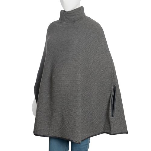 Designer Inspired - 100% Wool Grey Colour Knitted Cape Jacket (Free Size)