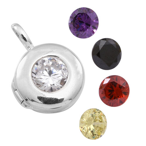 AAA Simulated Diamond (Rnd), Simulated Citrine, Simulated Garnet, Simulated Amethyst and Simulated Black Sapphire Interchangeable Pendant in Sterling Silver