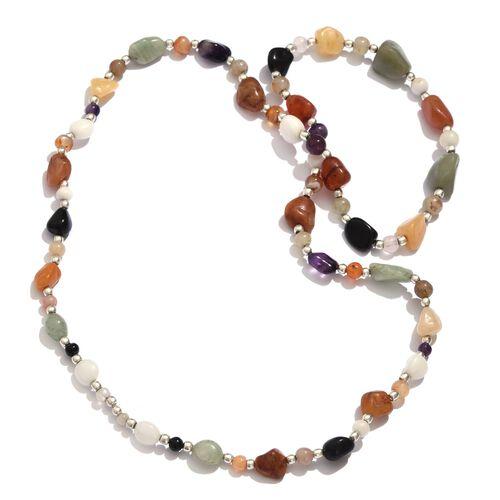 White Quartzite, Green Aventurine, Quartsite, Multi Colour Agate, Carnelian and Amethyst Necklace (Size 36) in Silver Tone 320.600 Ct.