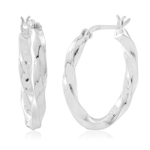 Thai Sterling Silver Hoop Earrings (with Clasp Lock), Silver wt. 5.45 Gms.