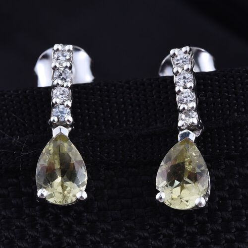 Natural Canary Apatite (Pear), Natural Cambodian Zircon Earrings (with Push Back) in Platinum Overlay Sterling Silver 1.500 Ct.