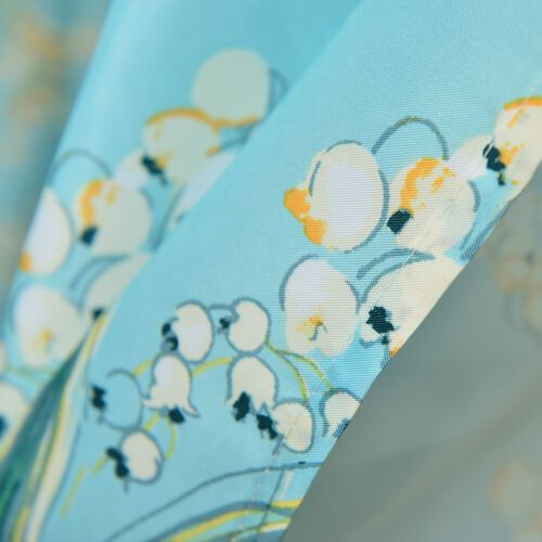 Multi Colour Floral Pattern Levender Turquoise Colour Waterproof Shower Curtain with 12 Hooks (Size 180X180 Cm)