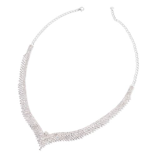 AAA White Austrian Crystal V Shaped Necklace (Size 22) and Earrings (with Push Back) in Silver Tone