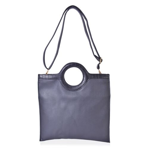 Black Colour Tote Bag with Circular Handle and Adjustable and Removable Shoulder Strap (Size 33X26 Cm)