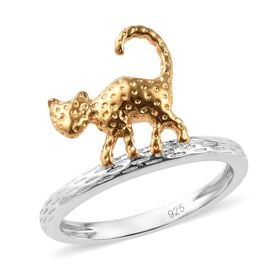 Cat Ring in Platinum and Gold Plated 925 Sterling Silver 2.98 grams