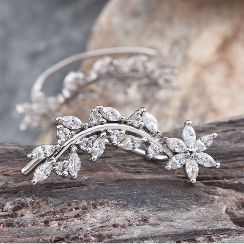 J Francis - Platinum Overlay Sterling Silver (Mrq) Climber Earrings Made with SWAROVSKI ZIRCONIA