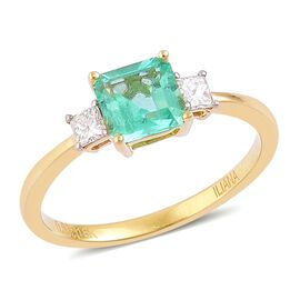 ILIANA 18K Yellow Gold 1 Carat AAA Boyaca Colombian Emerald Ring with Diamond SI/G-H