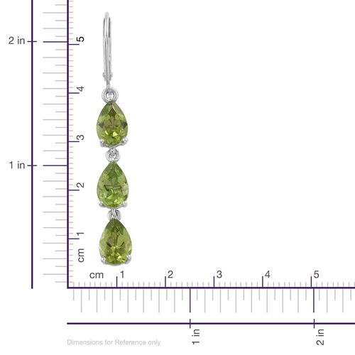 AAA Hebei Peridot (Pear) Lever Back Earrings in Platinum Overlay Sterling Silver 8.000 Ct.