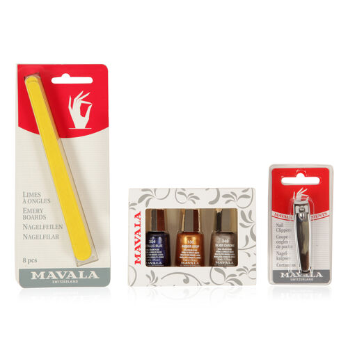 Mavala- Metallic-  3 x Polish 5ml Matallic Blue, Amber Drop and Silver Chrome with Emery Boards and Nail Clipper