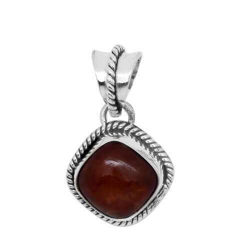 Royal Bali Collection Red Jade (Cush) Solitaire Pendant in Sterling Silver 5.000 Ct.
