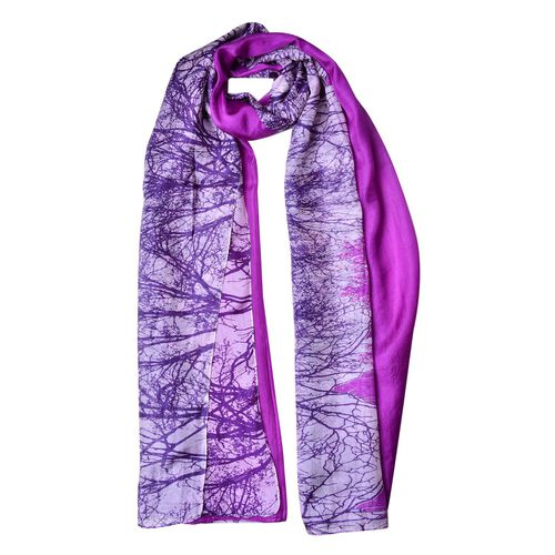 100% Mulberry Silk Purple, Grey and White Colour Bald Tree Forest Pattern Scarf (Size 180X110 Cm)