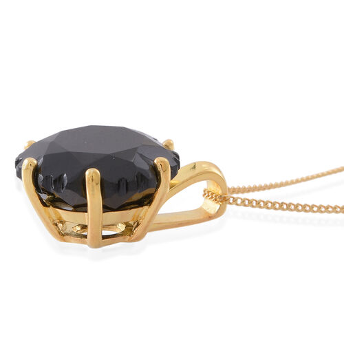 Fancy Cut Boi Ploi Black Spinel Pendant with Chain in 14K Gold Overlay Sterling Silver 11.500 Ct.