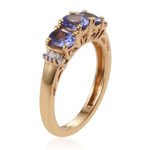 Tanzanite (Ovl), Diamond Ring in 14K Gold Overlay Sterling Silver 1.050 Ct.