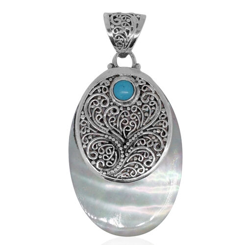 Royal Bali Collection Mother of Pearl (Ovl 5.00 Ct), Arizona Sleeping Beauty Turquoise Pendant in Sterling Silver 5.360 Ct. Silver wt 5.40 Gms.