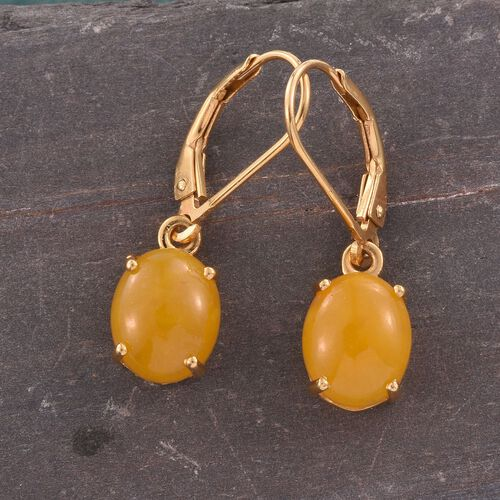 Yellow Jade (Ovl) Lever Back Earrings in 14K Gold Overlay Sterling Silver 6.000 Ct.