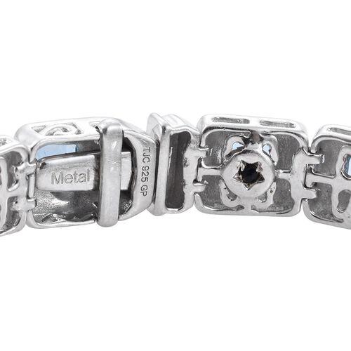 GP Electric Swiss Blue Topaz (Bgt), Kanchanaburi Blue Sapphire Tennis Bracelet (Size 7.5) in Platinum Overlay Sterling Silver 11.020 Ct.