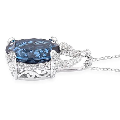 Limited Edition- Very Rare Size AAA London Blue Topaz (Ovl 11.25 Ct), White Zircon Pendant With Chain in Rhodium Plated Sterling Silver 12.250 Ct.
