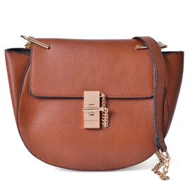Chocolate Colour Crossbody Bag with Shoulder Strap (Size 27x20x8 Cm)