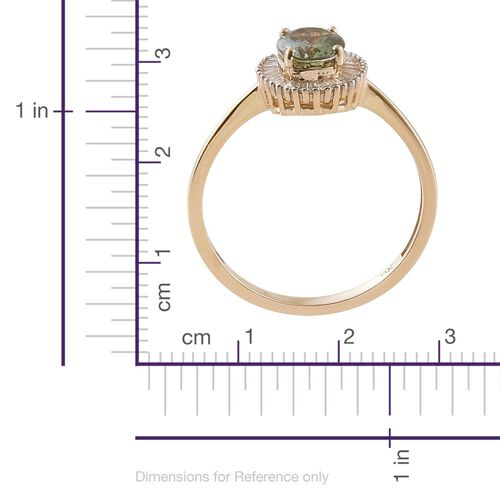 DOD- Limited Edition 9K Y Gold Very Rare Natural Green Tanzanite (Ovl 1.35 Ct), Diamond Ring 1.500  Ct.