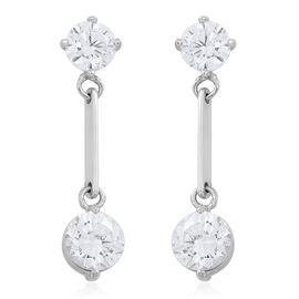 Super Auction-ELANZA AAA Simulated White Diamond (Rnd) Earrings (with Push Back) in Rhodium Plated Sterling Silver