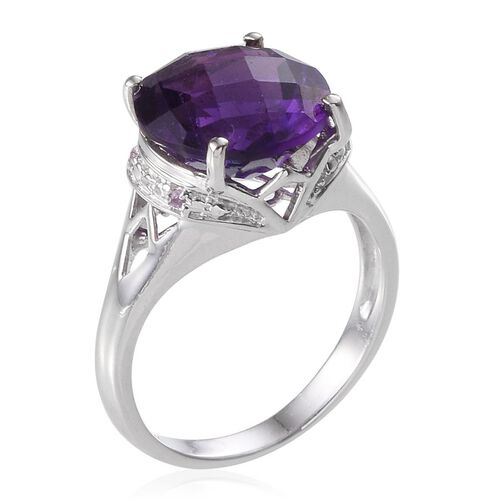 Checkerboard Cut Amethyst (Rnd 6.00 Ct) Ring in Platinum Overlay Sterling Silver 6.020 Ct.