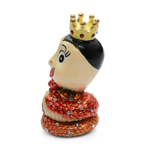 Snake King Shape Red Enameled Trinket Box in Gold Tone With Red and White Austrian Crystal