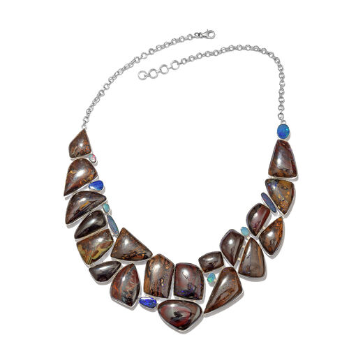 One Off A Kind- Boulder Opal Rock and Opal Double Necklace (Size 18 with 1 inch Extender) in Sterling Silver 566.400 Ct. Silver wt. 52.92 Gms.