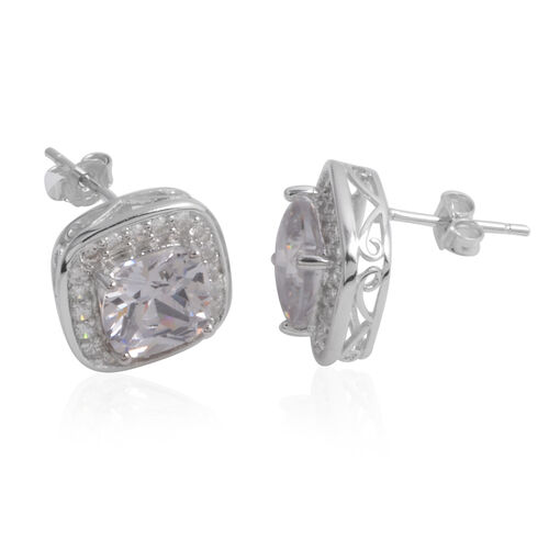 Close Out Deal AAA Simulated Diamond (Cush) Stud Earrings (with Push Back) in Sterling Silver