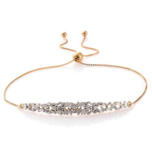 Diamond Firecracker (Bgt) Adjustable Bracelet (Size 6.5 to 8) in 14K Gold Overlay Sterling Silver 0.500 Ct.