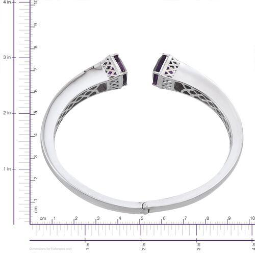 Amethyst (Cush) Bangle (Size 7.5) in ION Plated Platinum Bond 9.250 Ct.